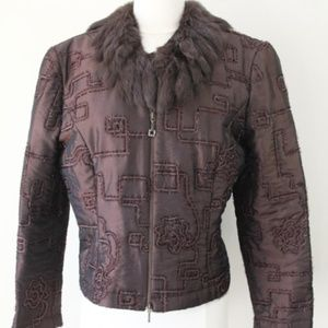 Joseph Ribkoff women Jacket sz 12 Faux Fur Coat